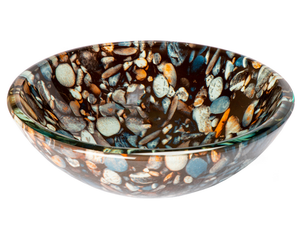 "-14"" Natural Pebble Pattern Glass Vessel Sink"