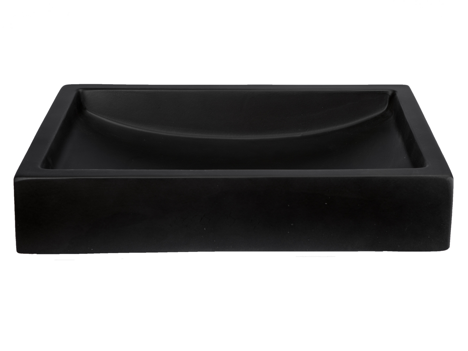 -22-in. Shallow Wave Concrete Rectangular Vessel Sink - Charcoal