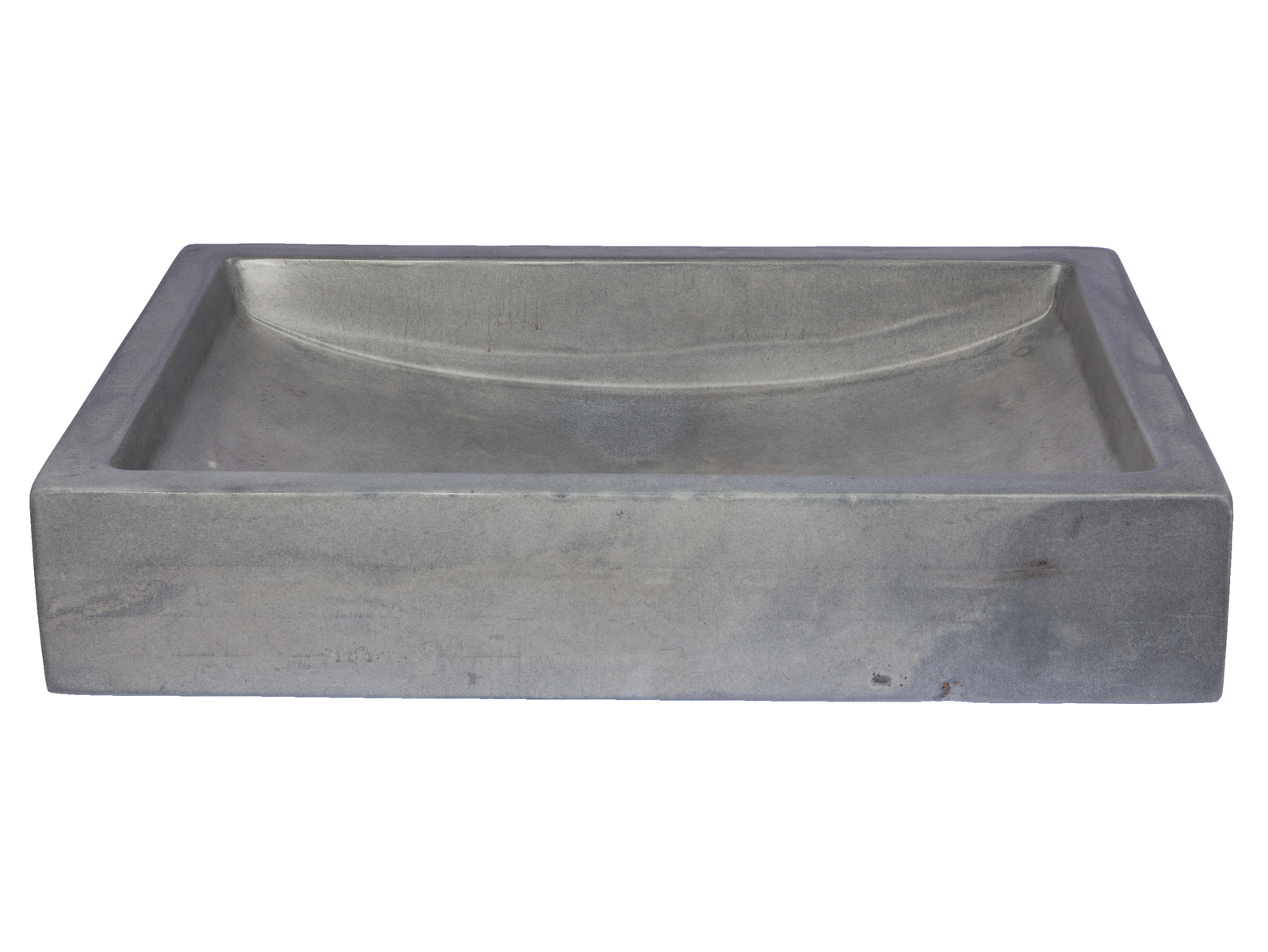 -22-in. Shallow Wave Concrete Rectangular Vessel Sink - Dark Gray