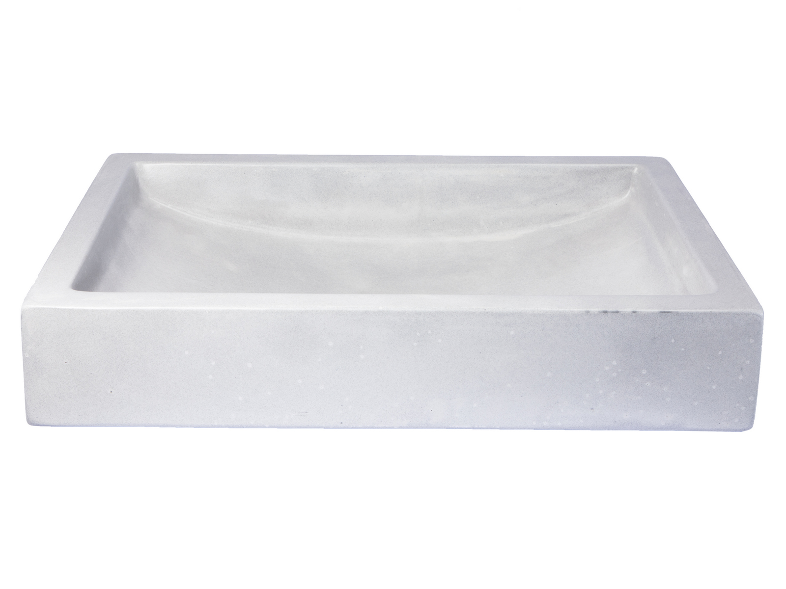 -22-in. Shallow Wave Concrete Rectangular Vessel Sink - Light Gray